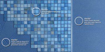 mur revêtu de mosaïque bleue
