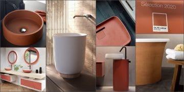 mosaïque de photos de salles de bains avec lavabos, meubles couleur brique