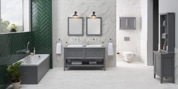 Salle de bains rétro avec meuble grisValarte de VitrA