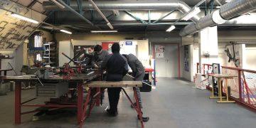 Jeunes en formation dans l'atelier du CFA d'Ermont