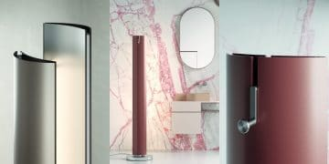 Le radiateur lampadaire Stylus de Caleido sous 3 angles
