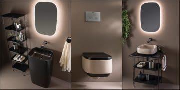 vasque totem, lavabo console et WC suspendu noirs et beiges Flag de Flaminia