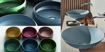 trois photos de vasques en couleurs mates et brillantes