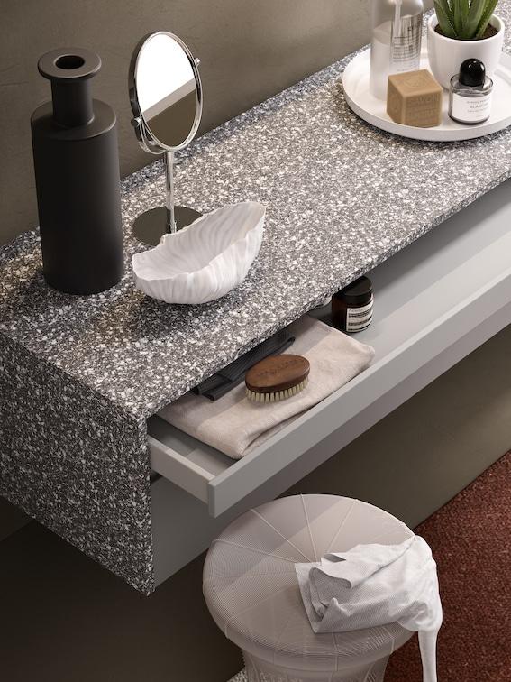 meuble de salle de bains façon terrazzo
