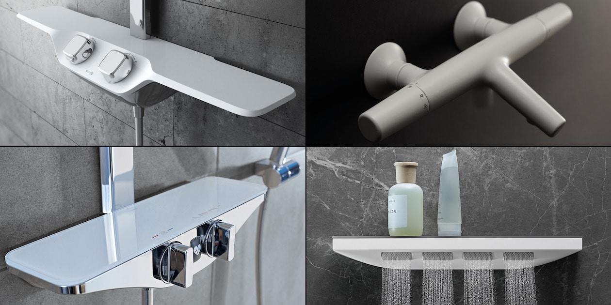 4 mitigeurs de douche au design en aile d'avion