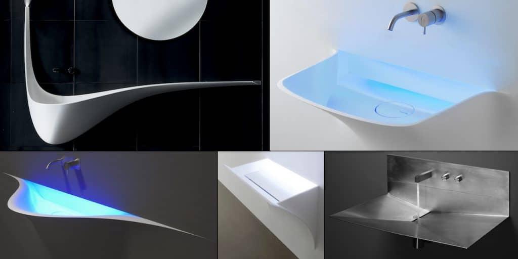 5 lavabos suspendus au designe en ailes d'avion