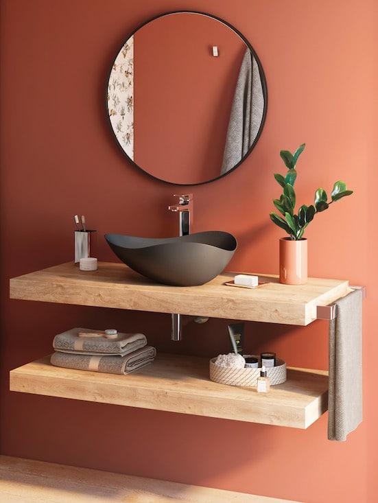 vasque en forme de coquillage sur un plan de toilette