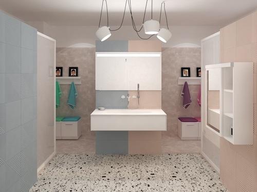 3D d'une salle de bains rose et bleue