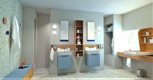 Deux lavabos design dans une salle de bains bleu pastel