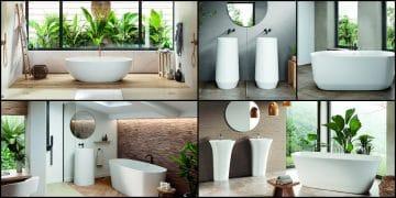 différentes baignoires et vasques totem de la gamme Acquawhite de Acquabella