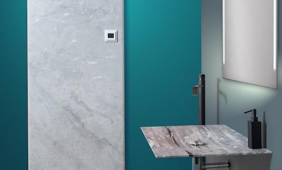 radiateur et vasque en pierre bleue de Savoie