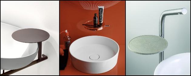 trois robinets avec tablette intégrée
