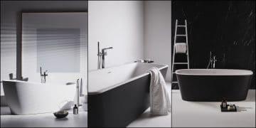 trois baignoires ilots noires et blanches