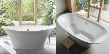 baignoire blanche ilot en forme de corolle