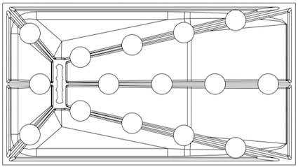 schéma montrant l'emplacement des pieds d'un receveur surélevé