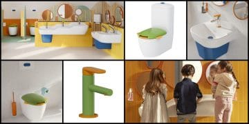 Exemples de produits de la collection Sento Kids de Vitra pour les sanitaires des crèches