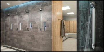 douches collectives dans un vestiaire