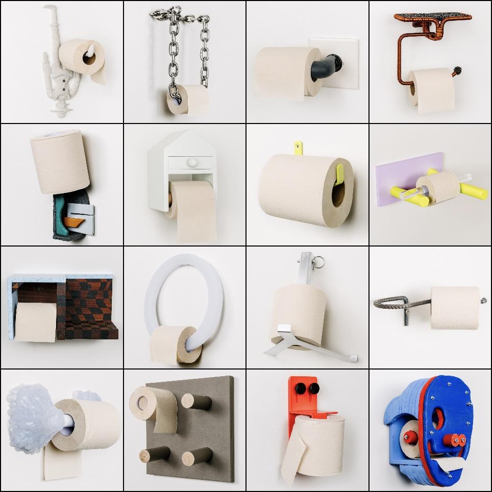une série d'insolites dérouleurs de papier toilette