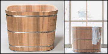 baignoire japonaise en bois cerclé d'inox
