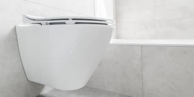 WC suspendu à côté d'une baignoire