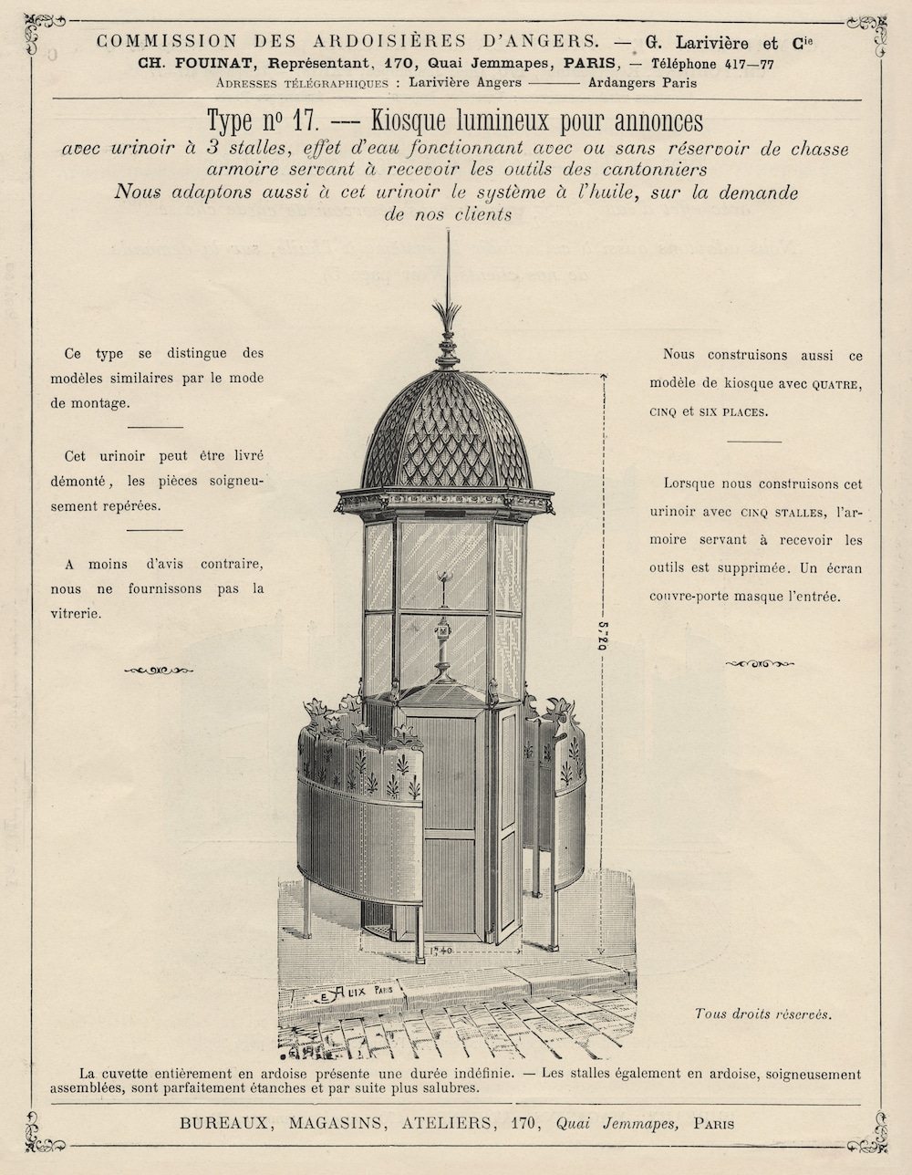 dessin d'une vespasienne, catalogue de mobilier urbain 1901