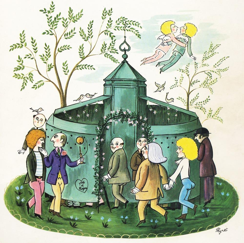 illustration de Peynet sur les urinoirs parisiens