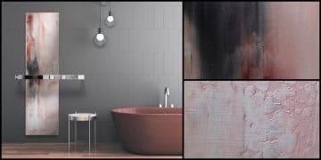 radiateur de salle de bains qui ressemble à une peinture verticale
