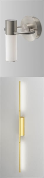 deux luminaires de salle de bains hauts et étroits