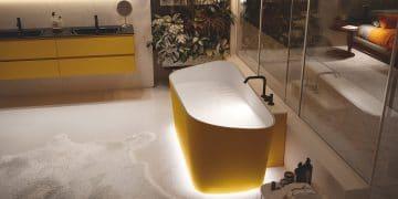 Baignoire ilot jaune Infinity de Novellini