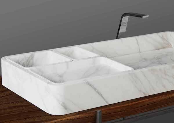 vasque en marbre à poser avec compartiments