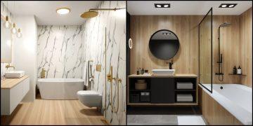 deux salles de bains habillées de panneaux muraux Nuance de Polyrey