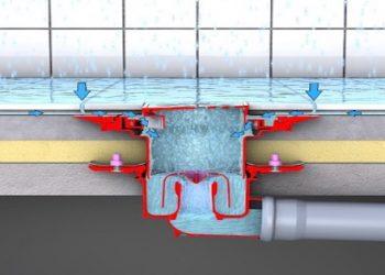 illustration du passage des eaux d'infiltration dans le siphon de la douche