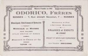 carte de Odorico Frères, mosaïste d'art