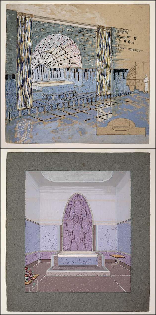 dessin de salles de bains en mosaïques Odorico