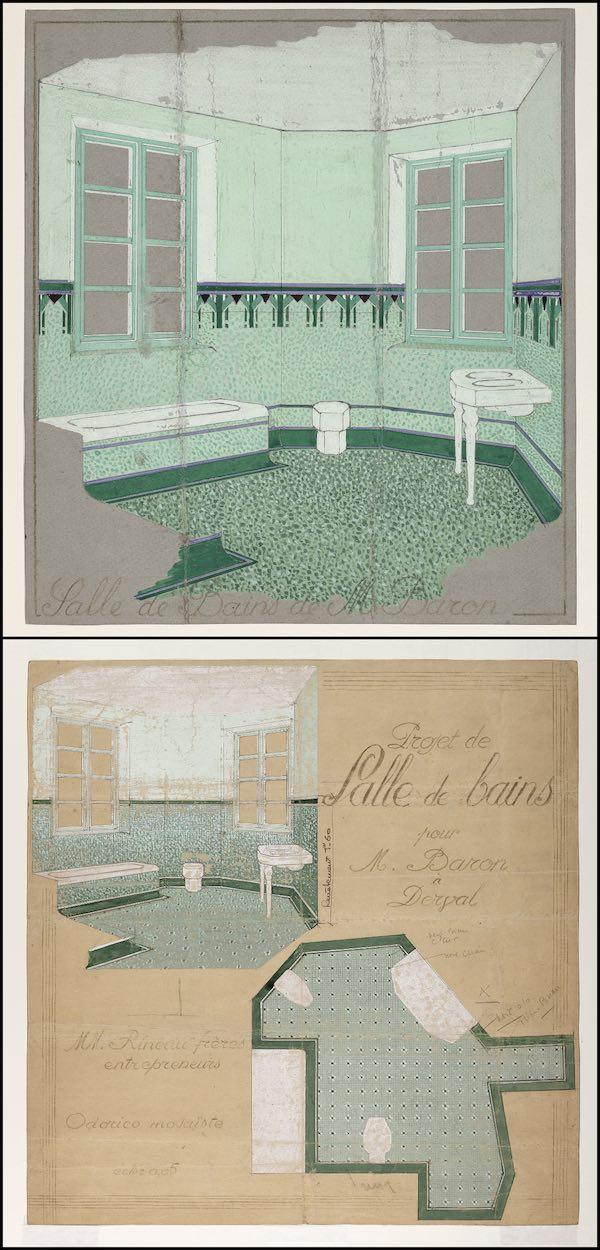 dessins de salles de bains décorées de mosaïques Odorico