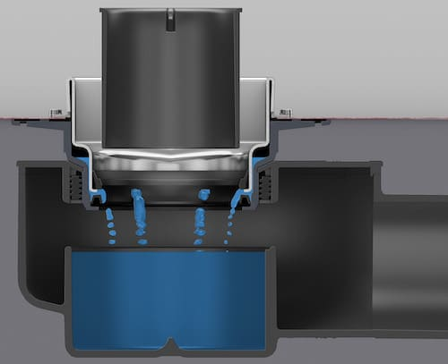 visualisation de l'écoulement dans un siphon Tece récupérant les eaux secondaires de la douche