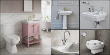 plusieurs photos de la salle de bains Riviera de Burlington