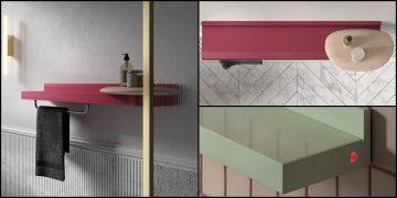 un radiateur étagère rouge dans une salle de bain