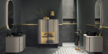 salle de bain avec3 meubles beiges Art déco