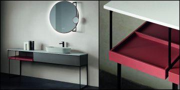 large meuble vasque ouvert d'un côté fermé de l'autre