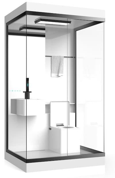 cabine de douche intégrant un lavabo et un WC