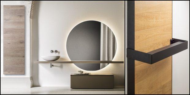ambiance salle de bains avec un radiateur doté d'une façade en bois
