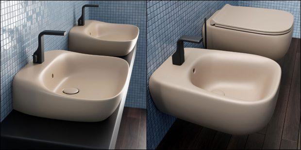 lavabo, WC et bidet beige Fluo de Faminia