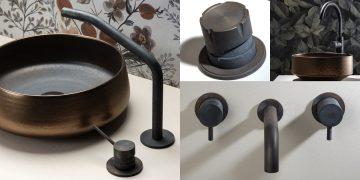 plusieurs robinets en acier noirci par la cuisson