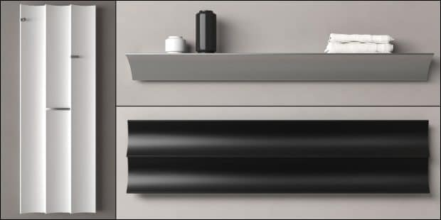 radiateur Parenthesis de Caleido posé à l'horizontal et à la vertical