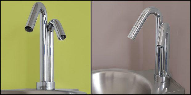 robinet supratech à deux becs pour distribuer le savon