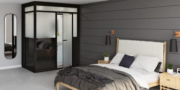 salle de bain prête à poser Modulo de Kinedo dans une chambre