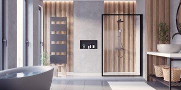 salle de bains habillée de panneaux décoratifs style de Japandi