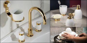 mélangeur de lavabo et accessoires de salle de bain Hémisphère de Serdaneli