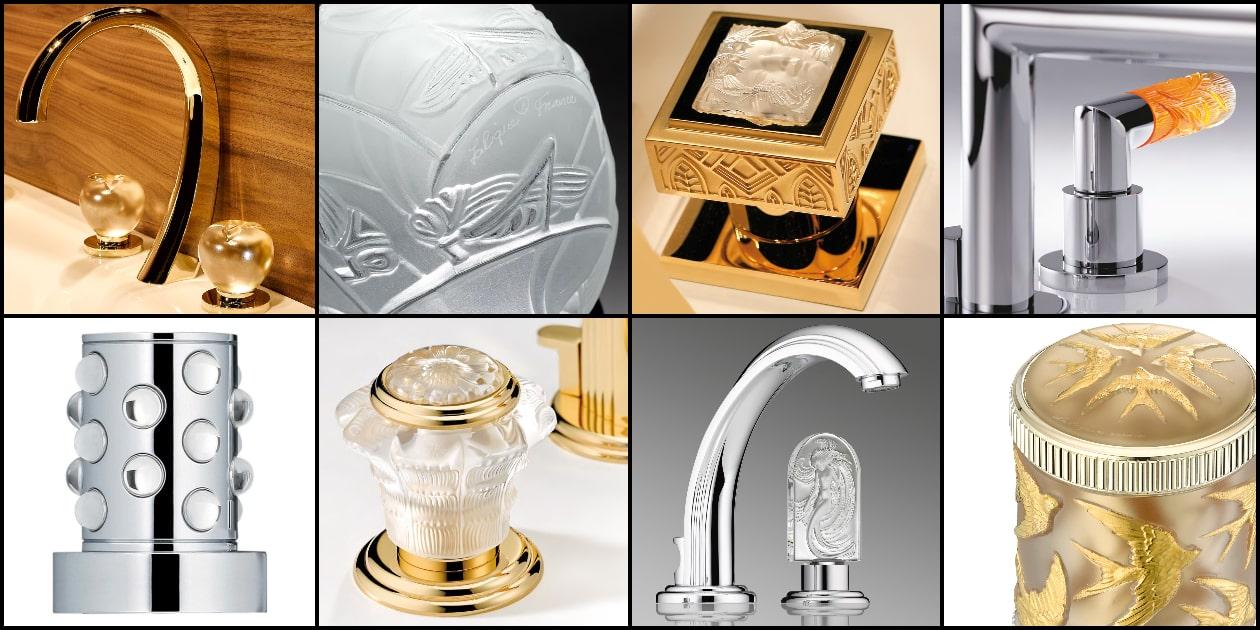 exemples de robinets et croisillons en verre gravé Lalique et THG